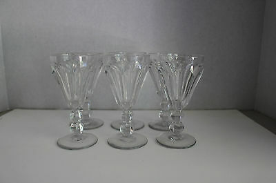ELEGANT HEISEY GLASS  CORDIALS DOUBLE BALL STEM COLONIAL PATTERN MARKED Set of 6