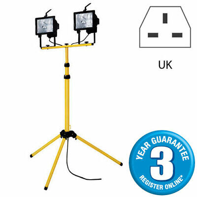500W Twin Head Telescopic Halogen Floodlight Work Site Flood Light Tripod Stand