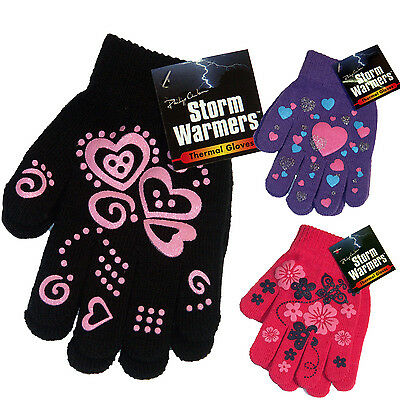 Ladies Kids Girls Luxury Winter Warm Thermal Insulated Knitted Magic Gloves Pink