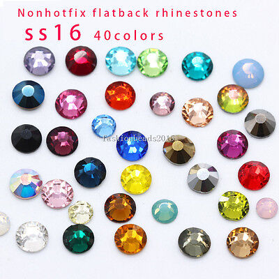 1440 faceted glass SS16 4MM Czech Crystal foiled Rhinestones Flatback Non-Hotfix