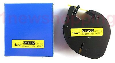 2PK compatible Dymo LetraTag LT 91202 PLASTIC YELLOW LABEL Tapes 12MM x 4M