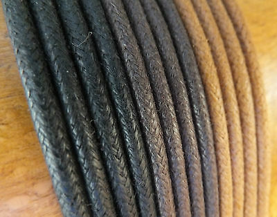 3mm Waxed Cotton Shoelaces - 75cm to 200cm - Black, Brown Shoe Boot Trainer (FA)