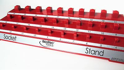 NEW! Socket Set Holder Tool Organizer Stand Bench Top  - RED METRIC