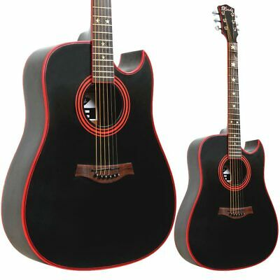Full Size steel string Lindo Black Widow Acoustic Guitar + Gig Bag & Accessories