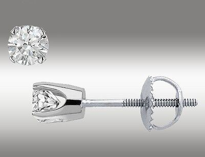 .20 Ct Solitaire Stud Earrings Round Cut 14K White Gold Screw Back pierced Deal