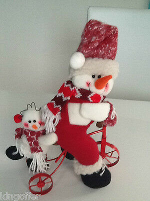 Cute snowman and baby on metal tricycle 40cm high padded xmas decoration