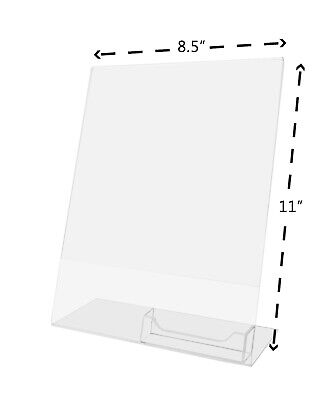 Clear Flyer 8.5X11 Sign Display w/ Business Card Holder