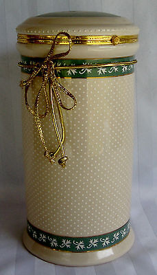 """Ceramic Canister from Knott's Berry Farm  Cream with green white 10"""" x 5-1/2"""""""