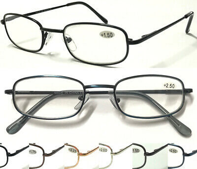L90 High Quality Mens Reading Glasses/Spring Hinges & Metal Frame Comfort Design