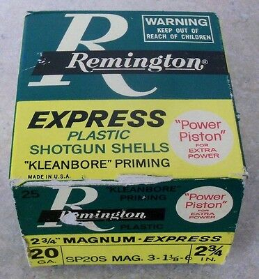 Vintage Remington 20ga. 2 3/4 inch, Shotgun Shell Box. EMPTY