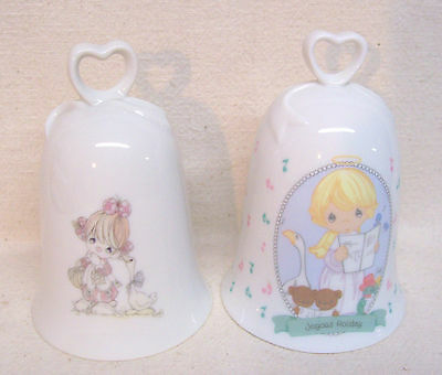 Precious Moments 1985 & 1997 Two Heart Shaped Handled Bells
