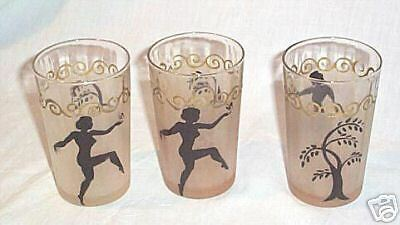 Three  Painted Black Dancing Lady  Design  Glasses