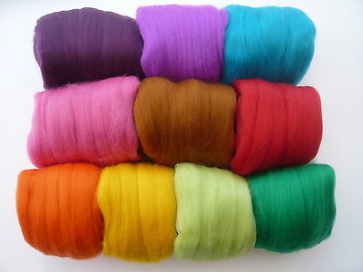 Heidifeathers® Merino Felting Wool 'Jelly Bean Mix'  -(100g) Bright Wool Colours