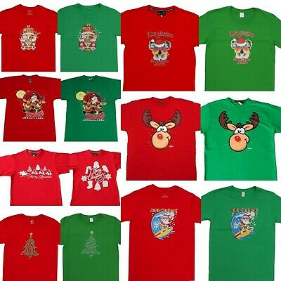 Adult Mens Womens Christmas Xmas T Shirt Tee 100% Cotton Red Green NEW