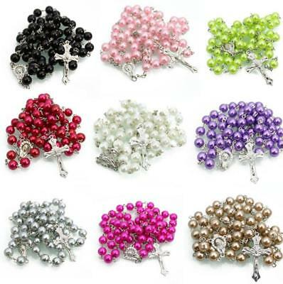 Unisex Pearlised Metallic Look Rosary Beads Necklace Religious Various Colours
