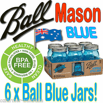 6 x 500ml Blue Ball Heritage Pints Canning Preserving Weddings Jars BPA Free