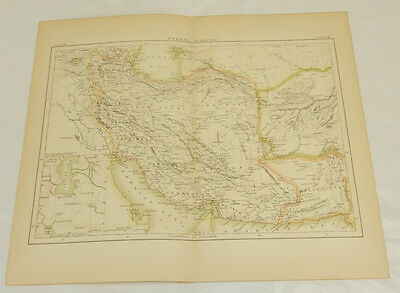 1885 Antique COLOR Map/MODERN PERSIA