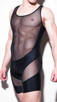 Body noir taille M transparence sheer plum sexy Ref 320 combinaison gay int