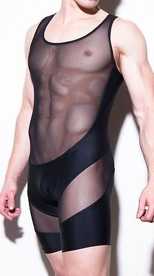 Body noir taille L  transparence sheer plum sexy Ref 320 combinaison gay int