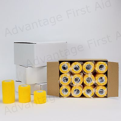Cohesive Elastic Bandage YELLOW. Head /Sports /Vet Wrap 5.0 cm x 4.5m  Qty 12