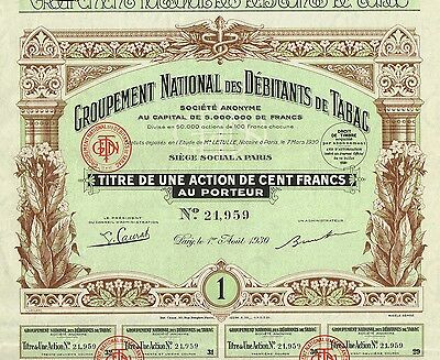 FRANCE NATIONAL TOBACCO GROUP stock certificate 1930 WITH COUPONS