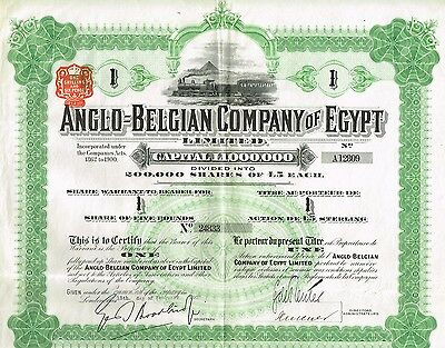 EGYPT ANGLO-BELGIAN COMPANY OF EGYPT stock certificate 1907 W/COUPONS