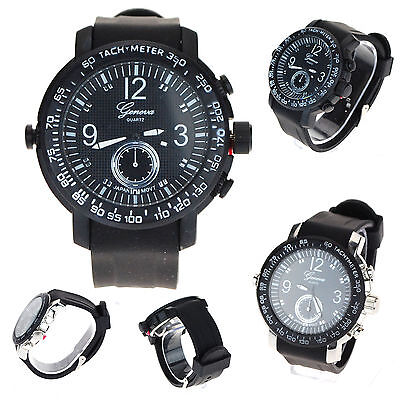 Geneva Mens Water Resistant Stainless Rubber Silicon Band Sporty Wrist Watch