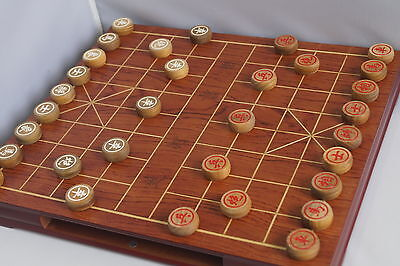 """Xiangqi, Chinese chess 15"""" fine wooden table set w/drawer, rosewood chess pieces"""