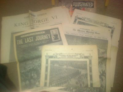 6 x COMMEMORATION PUBLICATIONS - FUNERAL / DEATH GEORGE VI - NEWSPAPERS 1952