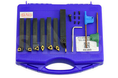 "Shars 7Pcs 3/8"" Indexable Carbide Turning Threading Lathe Tool Insert Set New"