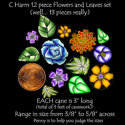 """HUGE 12 + 1 pce Flowers n Leaves 39"""" RAW Polymer clay canes EACH 3"""" L by CHarm"""