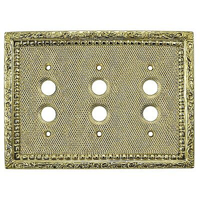 Victorian Style Solid Brass Triple Push Button Switchplate Cover (L-W17)