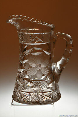 1900's STUNNING ANGELO American Brilliant Cut Glass EMPIRE CUT GLASS  Jug - EUC