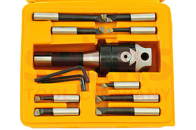 "2"" Boring head  R8 Shank 9pcs Carbide Tipped 1/2"" Boring Bar Set New $115.70 OFF"