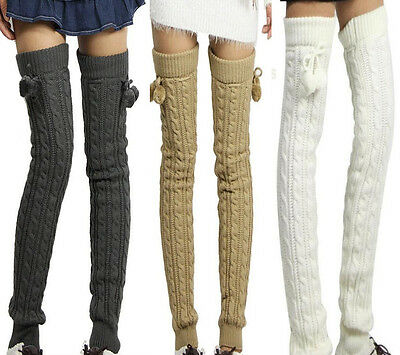 Super Vogue Soft Knit Thick Leg Warmer Long Knee High Warm Hosiery Stocking