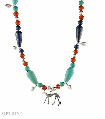 Ancient Egyptian Anubis Jackal Necklace With Natural Beads, Sterling Silver 925