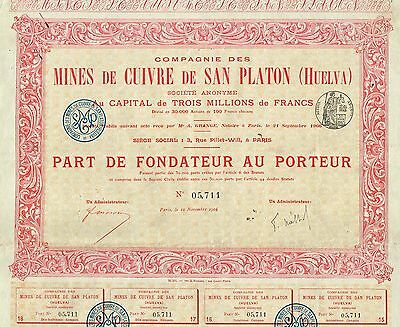SPAIN COPPER MINES OF SAN PLATON stock certificate 1906