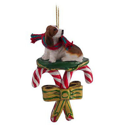 BASSET HOUND DOG CANDY CANE CHRISTMAS ORNAMENT HOLIDAY XMAS gift pet