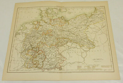 1879 Antique COLOR Map/GERMANY