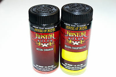 2 NEON BOTTLES HOUSE OF KOLOR KUSTOM AIRBRUSH PAINT 1oz