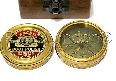 JACKO Boot Polish Solid Brass Compass - With Wooden Box -