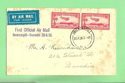 #d79. 1936 Used First Official Air Mail Cover, Invercargill-Dunedin, New Zealand