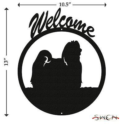 Maltese Dog Black Metal Welcome Sign *NEW*