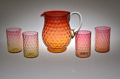 19th c. INVERTED THUMBPRINT / POLKA DOT Bulbous Pitcher w/4 Tumblers AMBERINA