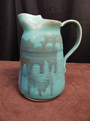 """7"""" Tall Teal and Blue Handled Water Jug/Pitcher; Cracovia; 2 lb. 10 oz"""