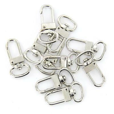 10 pcs Metal Trigger Snap Hook Clip Keychain Key Ring Silver Tone 18mm x 33mm