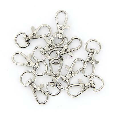10 pcs Metal Trigger Snap Hook Clip Keychain Key Ring Silver Tone 12mm x 30mm