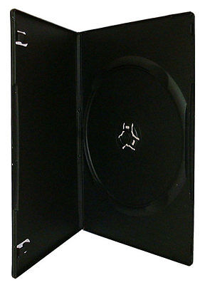 100 Single DVD Case Cases 7mm Spine Slimline Black Clear Front Cover Sleeve