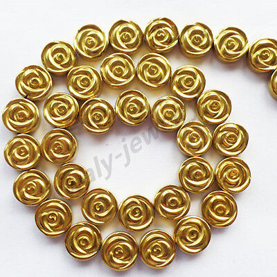 Q48438 Beautiful Carved Gold Hematite flower loose bead 15.5 inch