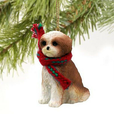 SHIH TZU (TAN WHITE SPORT CUT) DOG CHRISTMAS ORNAMENT HOLIDAY  Figurine puppy